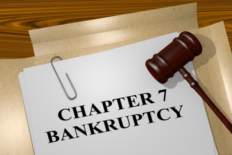 Chapter bankruptcy title on legal document