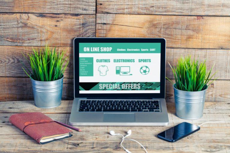 Online shop website template design on a laptop