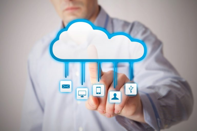 man tapping on data in cloud server