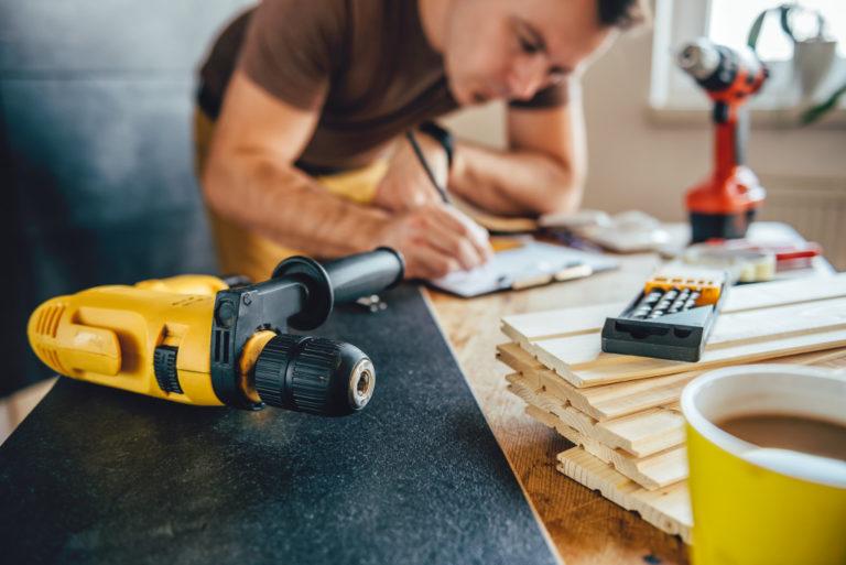 man doing diy home renovation