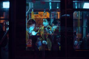 people wearing face mask in public transportation