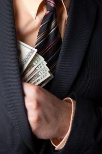 man keeping money